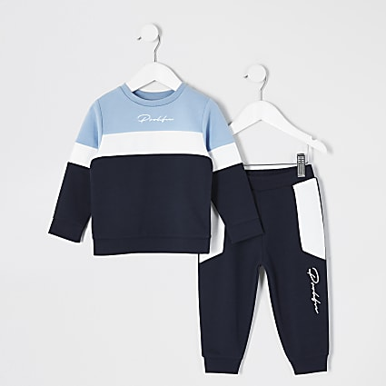 Mini boys blue blocked Prolific jogger outit