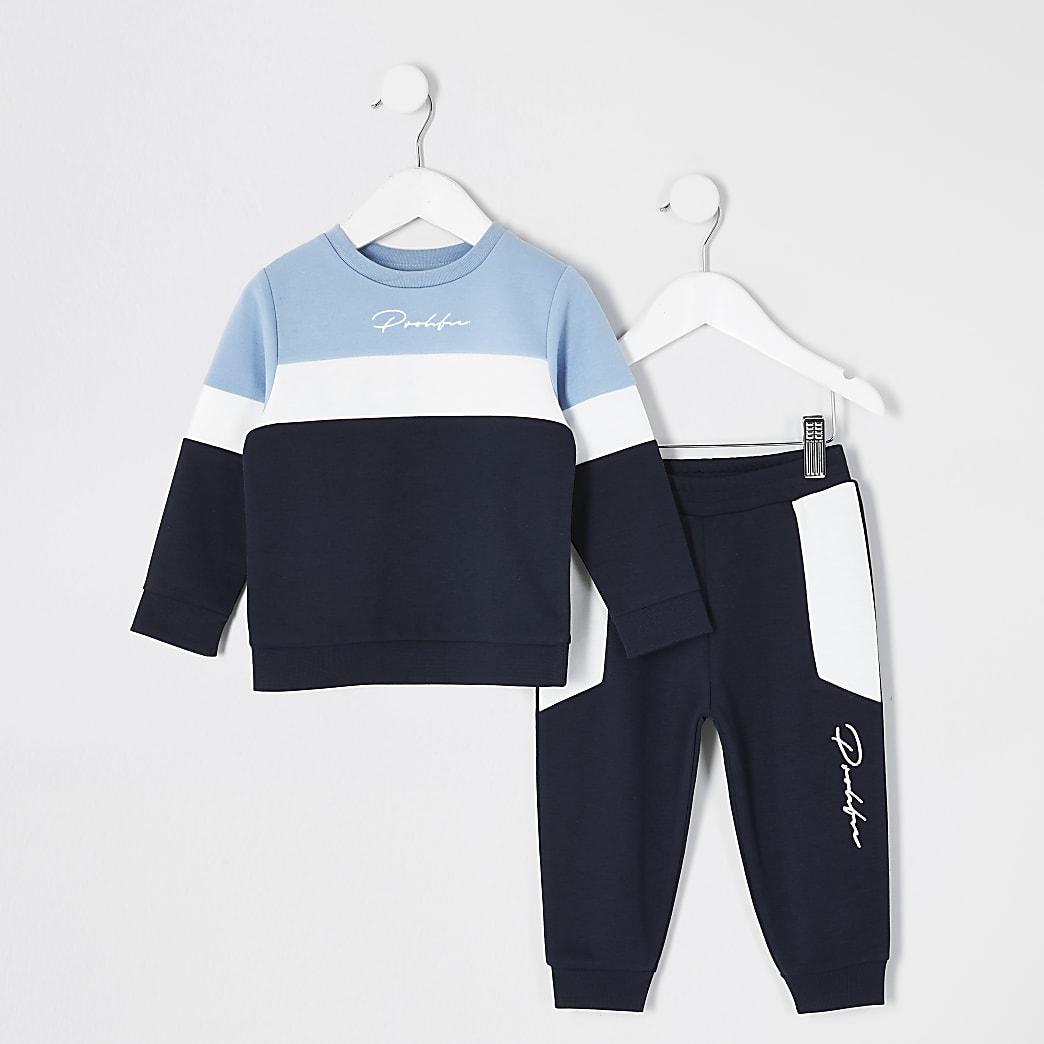 Mini boys blue blocked Prolific jogger outit