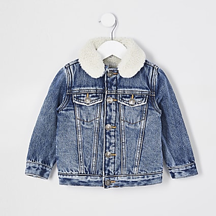 Mini boys blue borg lined denim jacket