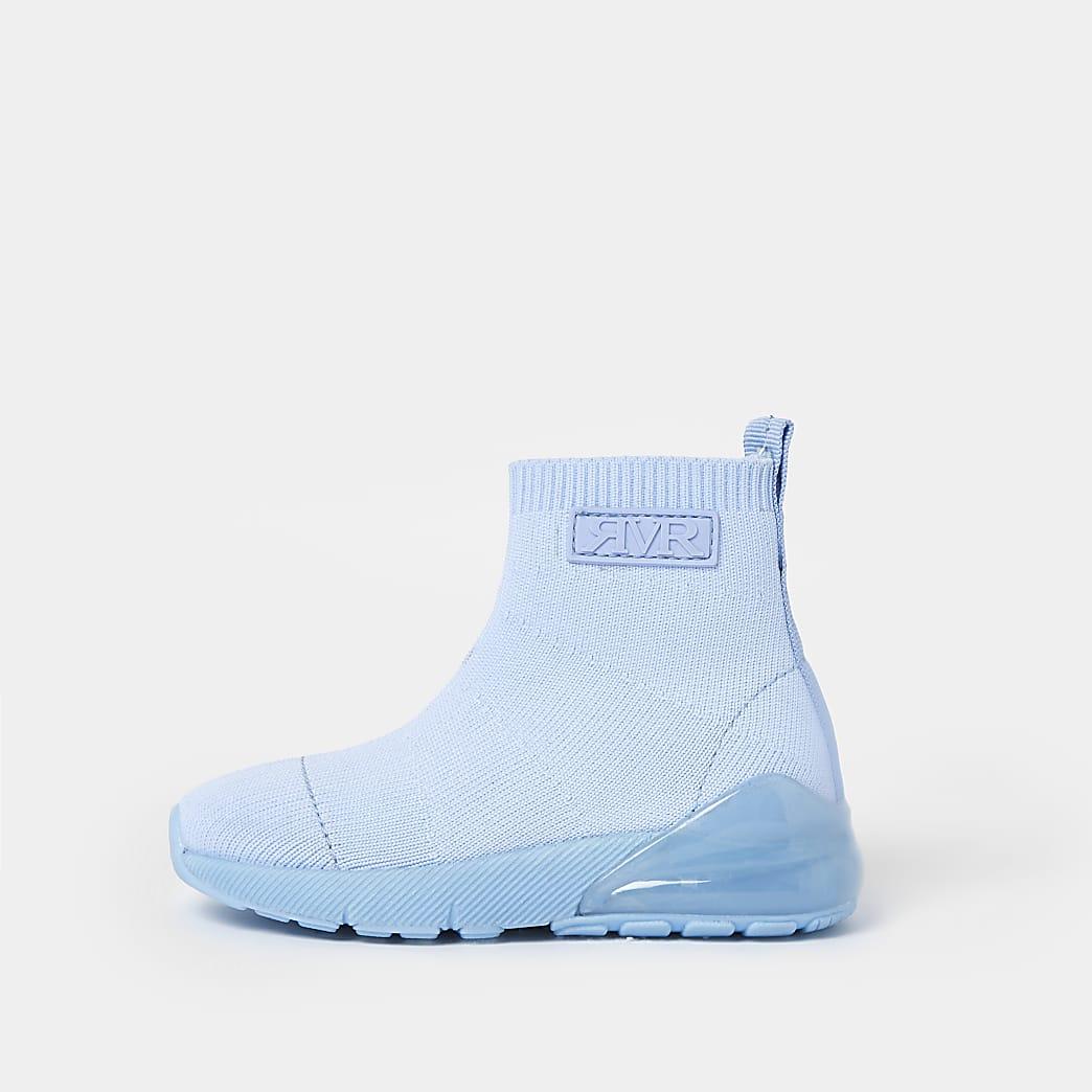 Mini boys blue bubble sock hi top trainers