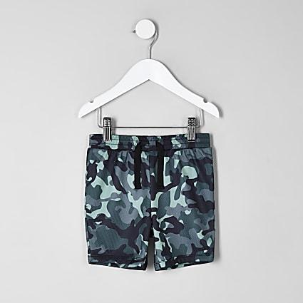 Mini boys blue camo print shorts
