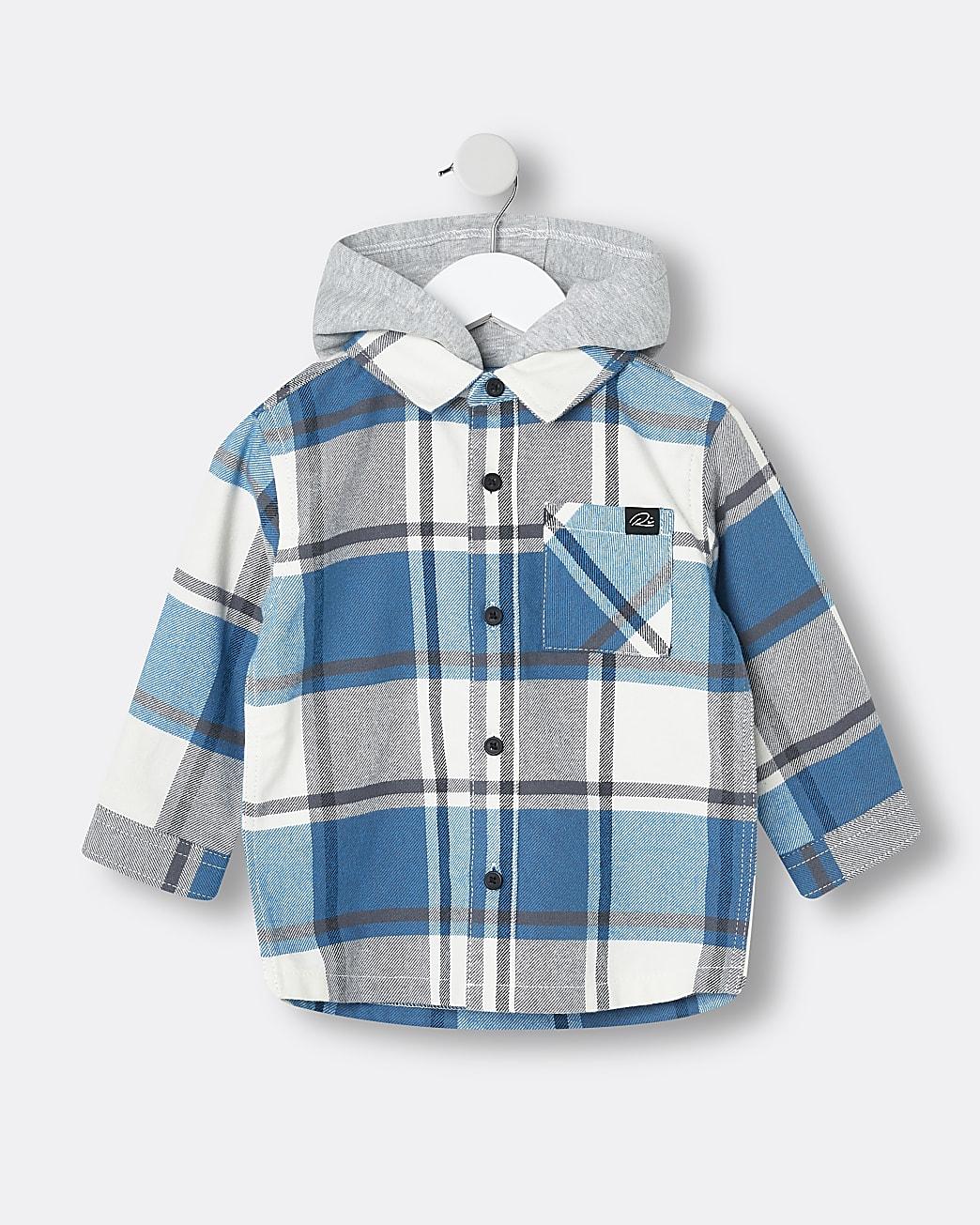 Mini boys blue check hooded overshirt