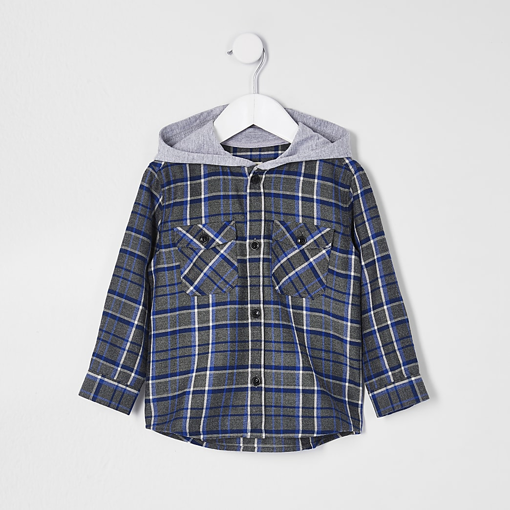 Mini boys blue check hooded shirt