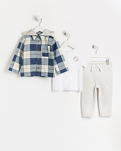 Mini boys blue check overshirt 3 piece outfit