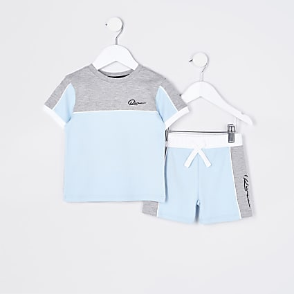 Mini boys blue colour block outfit