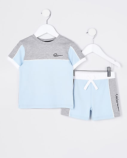 Mini boys blue colour block outfit