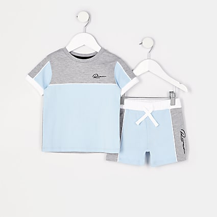 Mini boys blue colour block t-shirt outfit