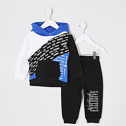 Mini boys blue colour blocked hoodie outfit