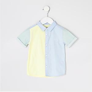 Mini - Blauw overhemd met kleurvlakken en 'River'-tekst voor jongens