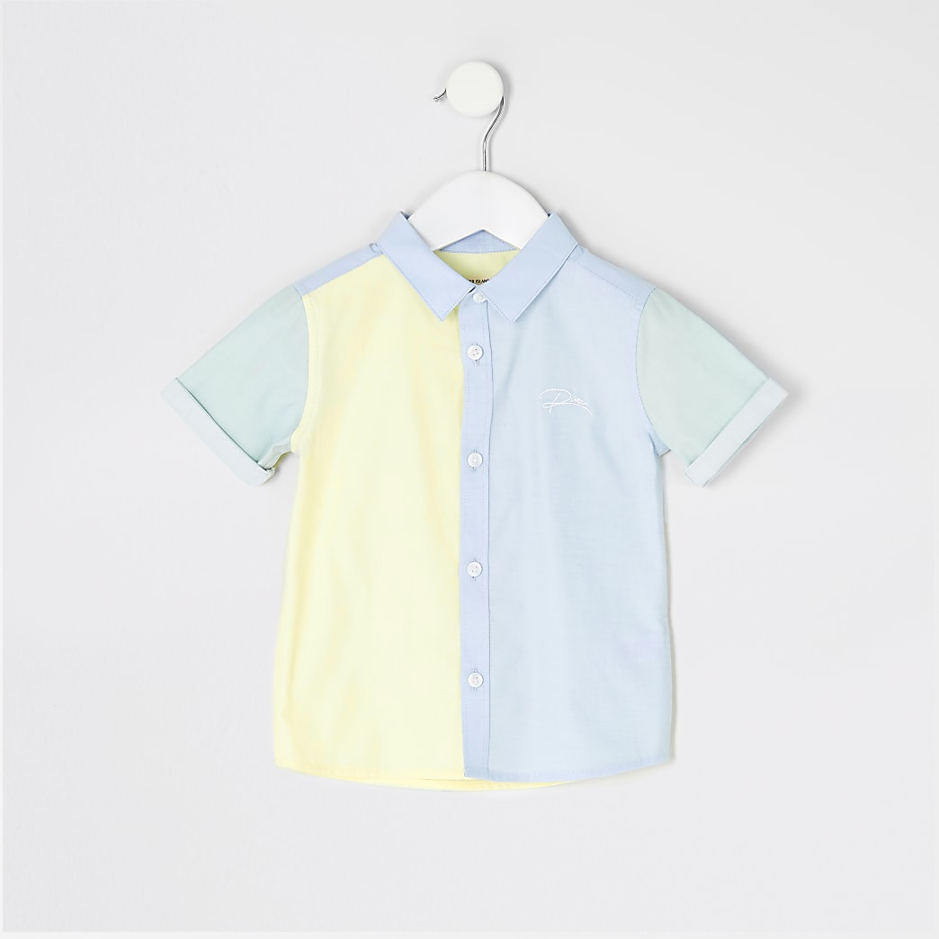 Mini boys blue colour blocked 'River' shirt
