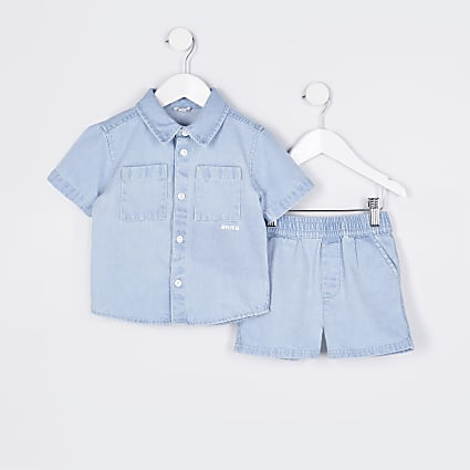 Mini boys blue denim shacket and shorts set