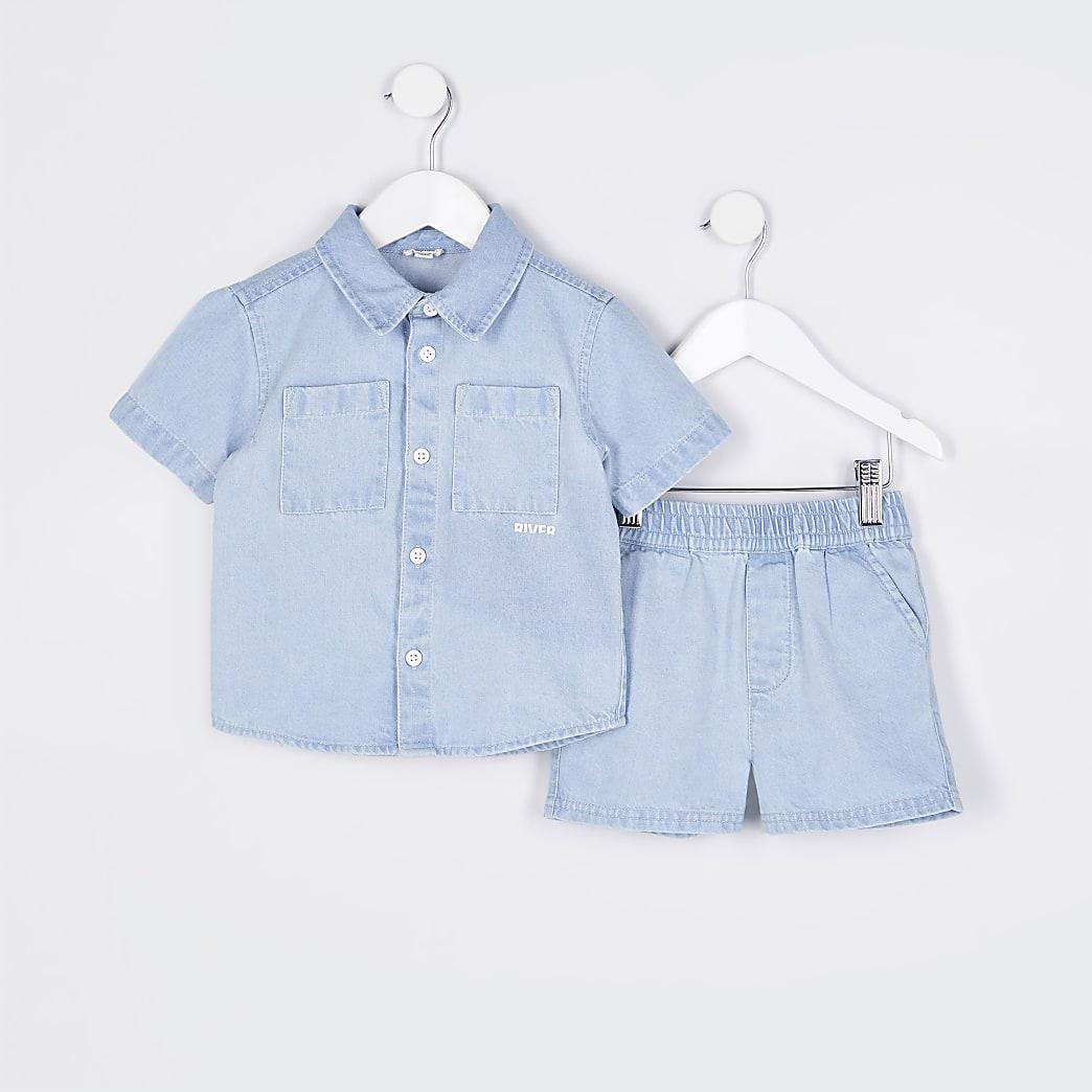 Mini boys blue denim shacket and shorts set