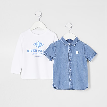 Mini boys blue denim shirt outfit