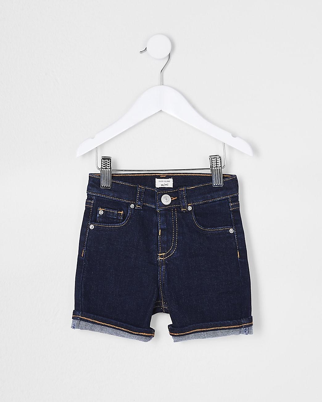 Mini boys blue denim shorts