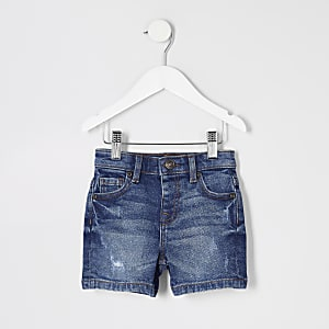 Mini - Dylan - Blauwe distressed denim short voor jongens