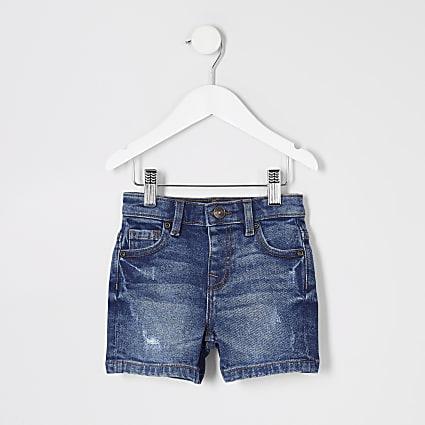 Mini boys blue distressed Dylan denim shorts