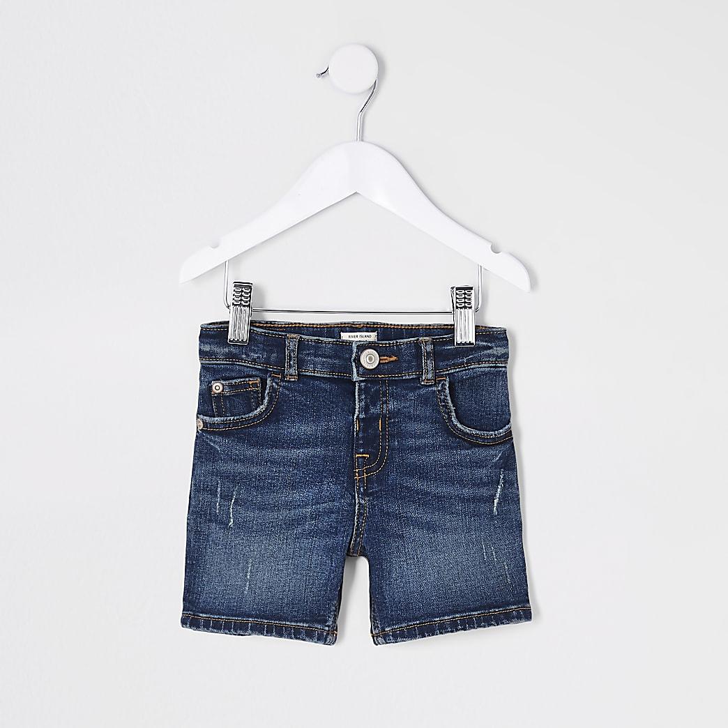 Mini - Dylan - Blauwe denim short voor jongens
