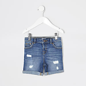 Mini - Dylan - Blauwe slim-fit denim short voor jongens