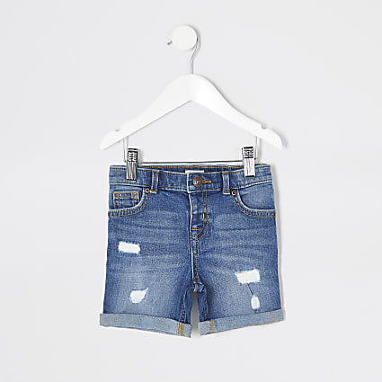 Mini boys blue Dylan slim denim shorts