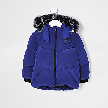 Mini boys blue faux fur hooded padded coat