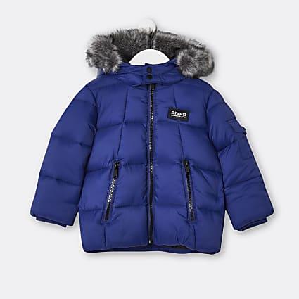Mini boys blue faux fur hooded puffer coat