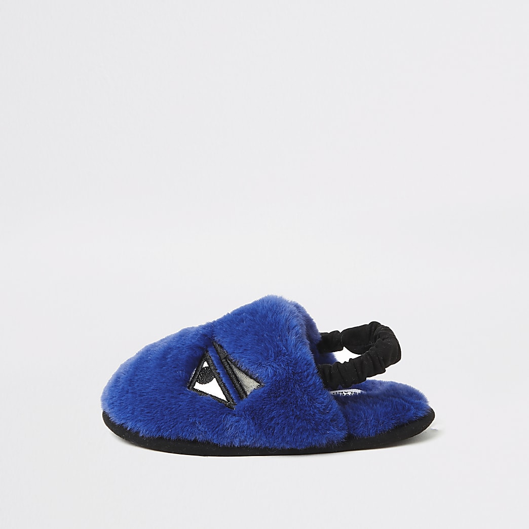 Mini boys blue faux fur monster slippers