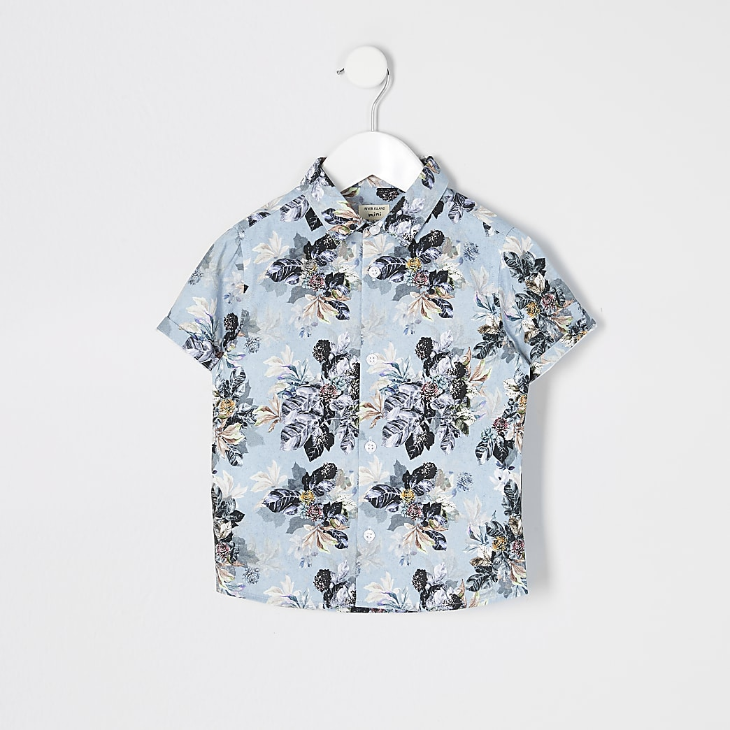 Mini boys blue floral short sleeve shirt