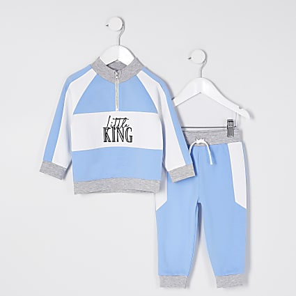 Mini boys blue funnel neck outfit
