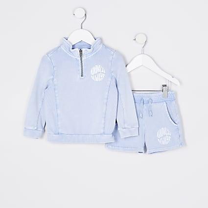 Mini boys blue funnel neck sweatshirt outfit
