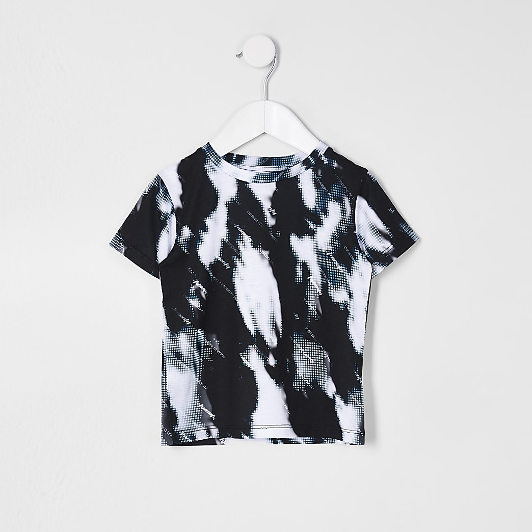 Mini boys blue glitch tie dye t-shirt