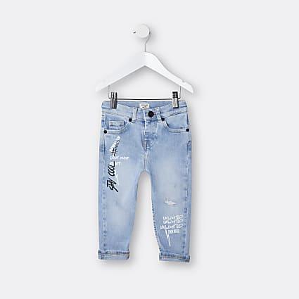 Mini boys blue graffiti jeans