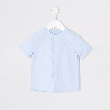 Mini boys blue grandad collar twill shirt