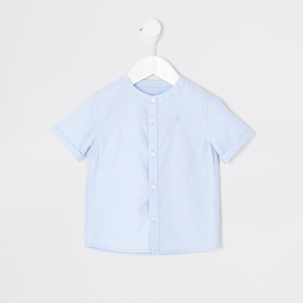 Mini - Blauw overhemd zonder kraag van keperstof voor jongens