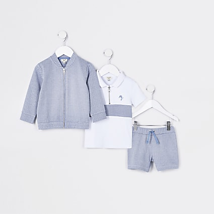 Mini boys blue herringbone 3 piece outfit