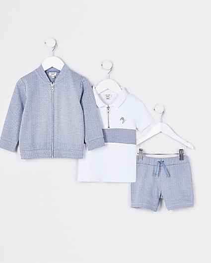 Mini boys blue herringbone 3 piece outfit