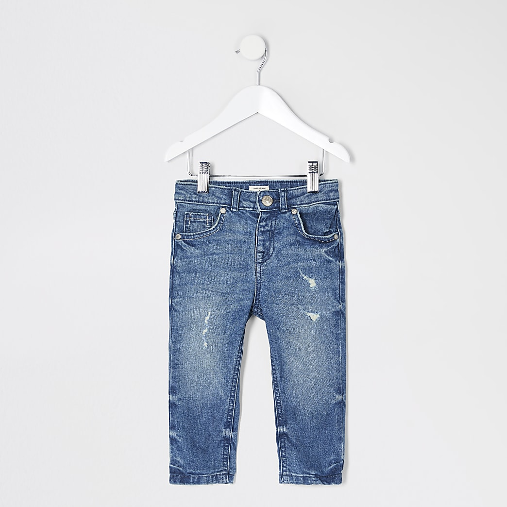 Mini - Jake - Blauwe regular fit jeans voor jongens