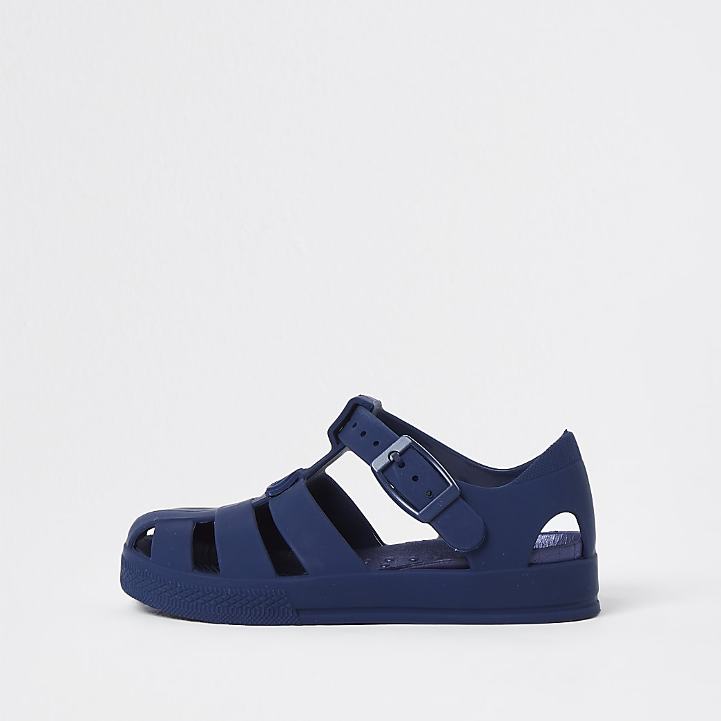 Mini boys blue jelly caged sandals