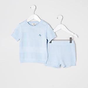 Mini - Blauwe gebreide outfit met T-shirt voor jongens