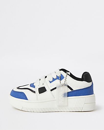 Mini boys blue lace up trainers