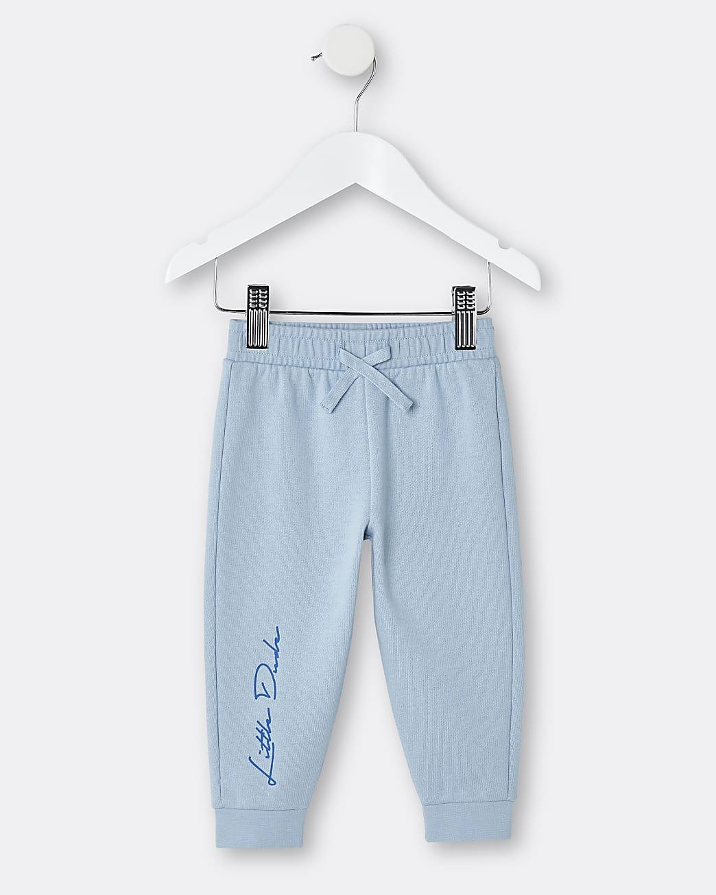 Mini boys blue 'Little Dude' joggers
