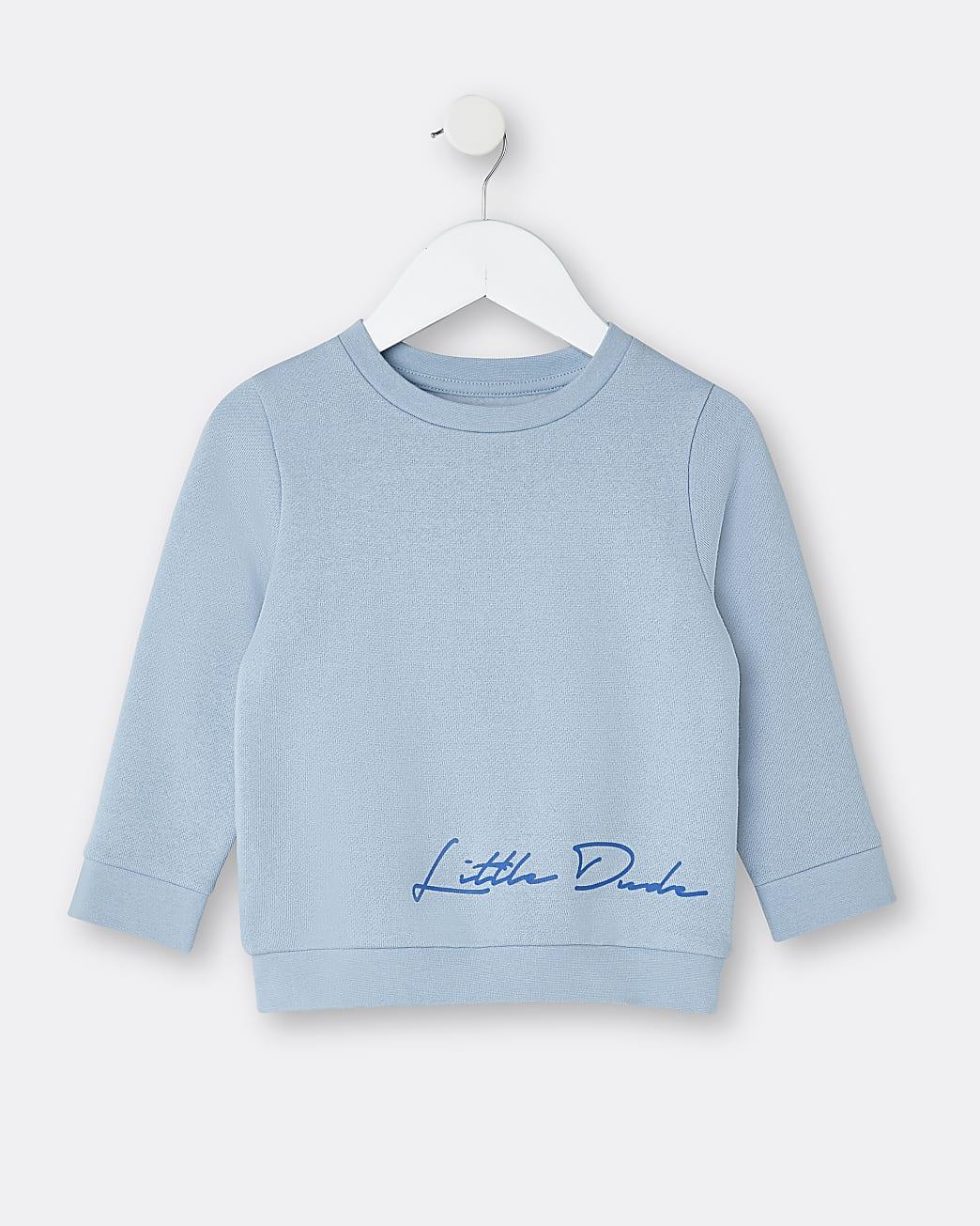 Mini boys blue 'Little Dude' sweatshirt
