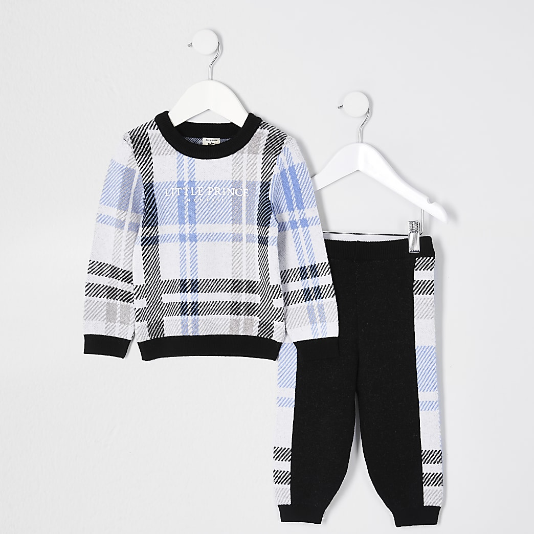 Mini boys blue 'Little prince' jumper outfit