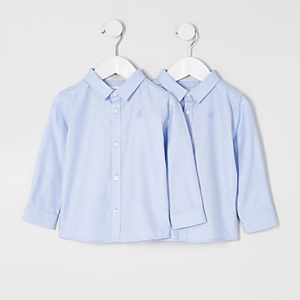 Mini boys blue long sleeve shirt 2 pack