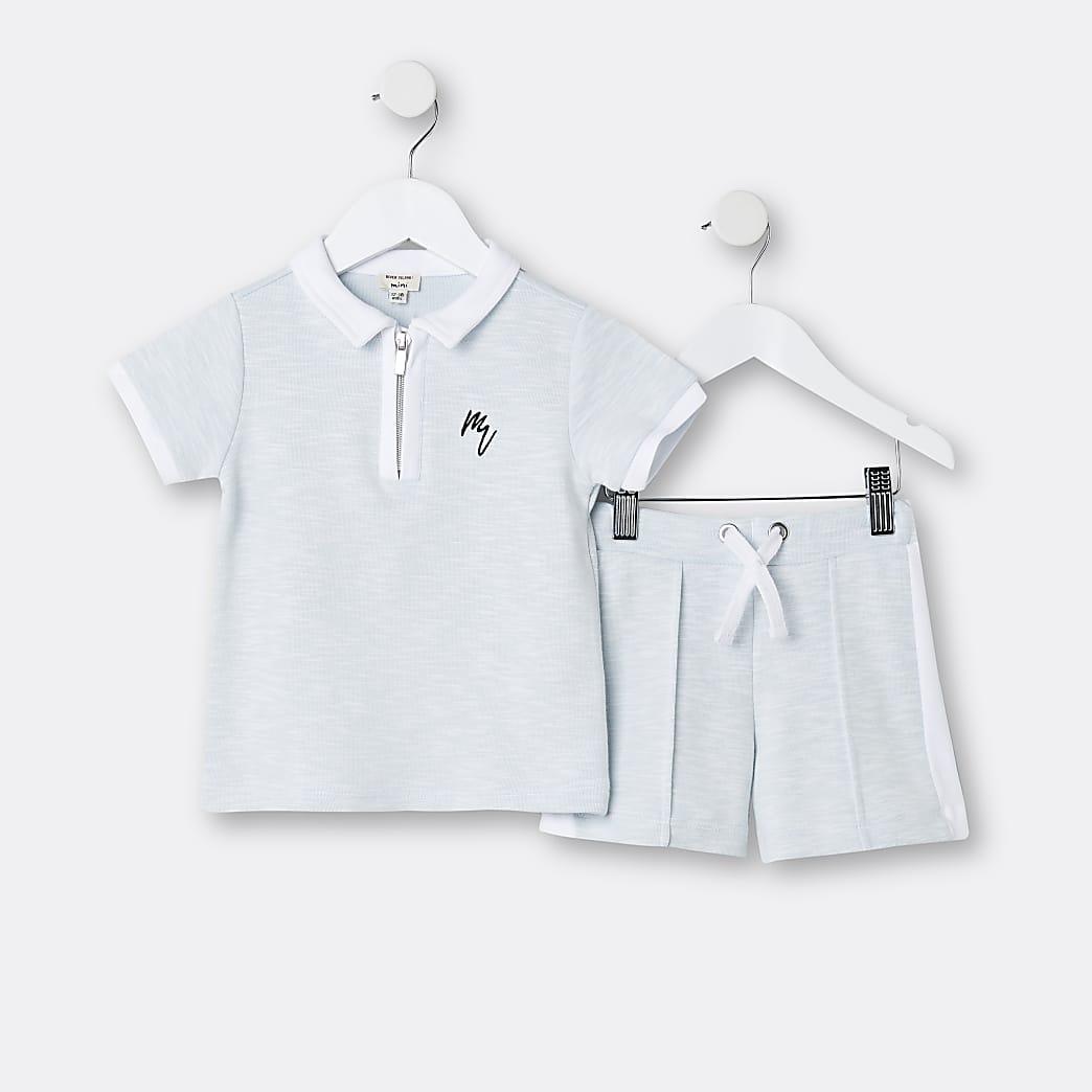 Mini boys blue Maison Riviera shirt outfit