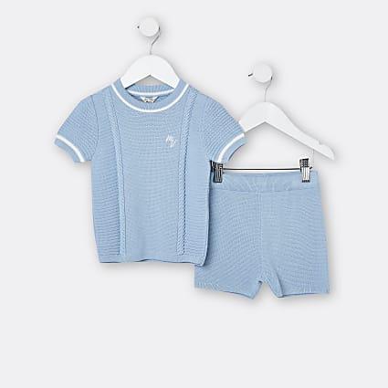 Mini boys blue Maison Riviera t-shirt outfit
