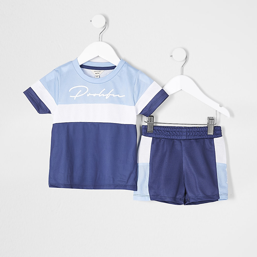 Mini Boys Blue Med Blocked Prolific Mesh Set