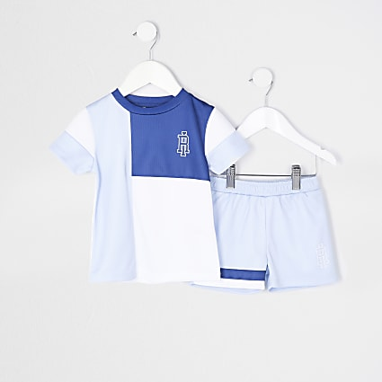 Mini boys blue mesh t-shirt and shorts outfit