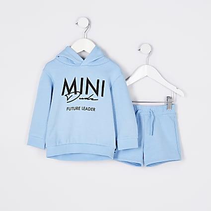 Mini boys blue 'Mini Dude' hoodie outfit