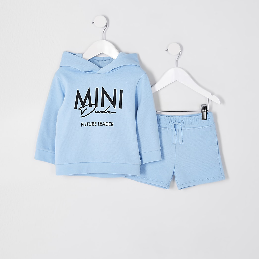 Mini boys blue 'Mini Dude' hoodie outfit