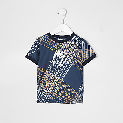 Mini boys blue 'Mini Rebel' check t-shirt
